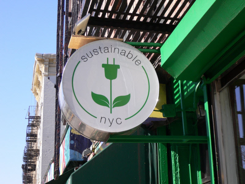 Sustainable NYC store sign